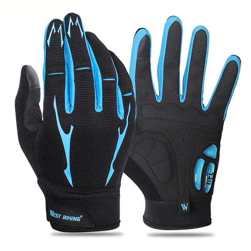 Перчатки велосипедные West Biking 0211191 XL Blue спортивные с закрытыми пальцами велоперчатки