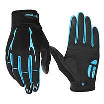 Перчатки велосипедные West Biking 0211191 XL Blue спортивные с закрытыми пальцами велоперчатки, фото 2