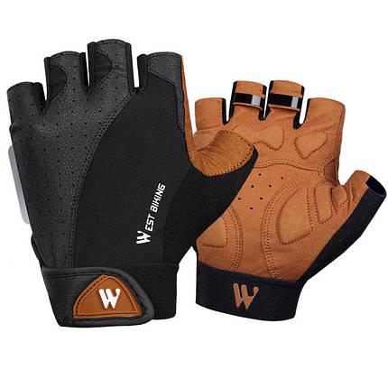 Перчатки для велосипеда West Biking 0211196 L Brown без пальцев, фото 2