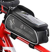 """Велосумка на раму West Biking 0707205 Black для смартфона 6"""" бардачок для инструмента, фото 2"""