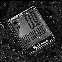 Велокомпьютер беспроводной West Biking 0702054 экран с подсветкой спидометр часы, фото 3