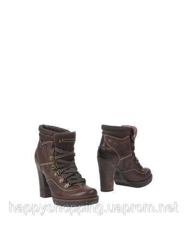 Женские коричневые ботинки Replay из натуральной кожи на каблуке