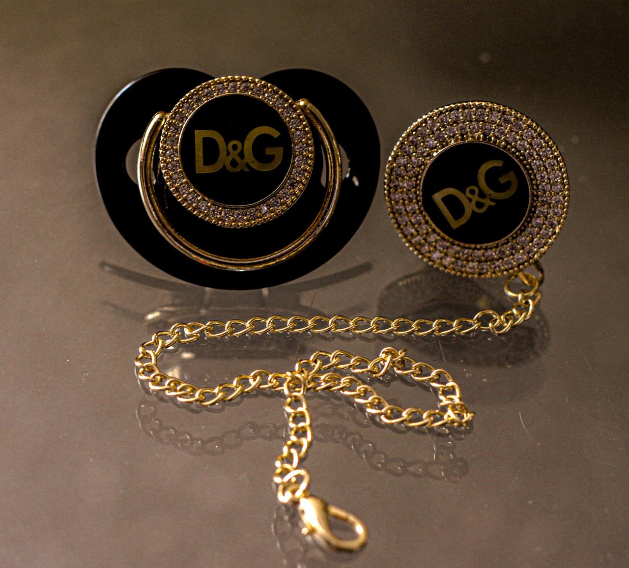 Пустышка, соска со стразами Dolce&Gabbana и держатель, комплект