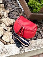 Жіноча сумка кроссбоди, на широкому -кольоровому ремені через плече, з натуральної шкіри .