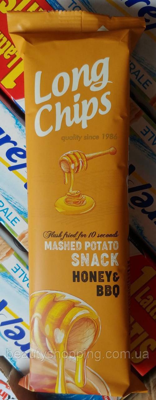 Long chips BBQ Honey картофельные чипсы пластинки барбекю мед  75g Латвия