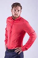 Классическая мужская однотонная рубашка коралловая
