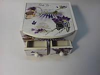 Шкатулка для косметики,украшений и любимых мелочей, в стиле прованс деревянная с ящичками Лаванда 110Х100Х70