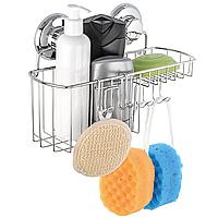 Полка с мыльницей и крючком на вакуумных присосках (полированная нержавейка), фото 1