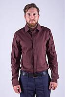 Классическая мужская однотонная рубашка шоколадная