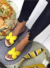 Яркие желтые шлёпанцы из натуральной кожи