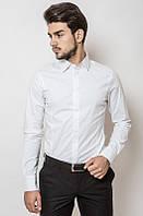 Классическая мужская однотонная рубашка белая, черная, синяя, электрик