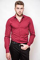 Мужская однотонная классическая рубашка со скрытыми пуговицами под запонки вишнево-красная