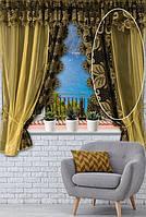 Кухонная Тюль с роскошным кружевом Декор 170 х 200 Оливковый код 014555