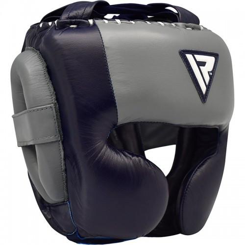 Боксерский шлем RDX Leather Pro Blue L