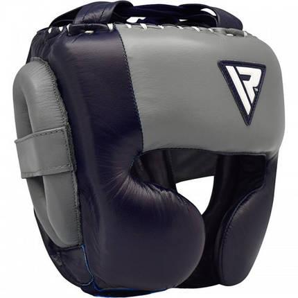 Боксерский шлем RDX Leather Pro Blue L, фото 2