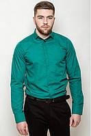 Мужская однотонная классическая рубашка со скрытыми пуговицами под запонки изумрудная
