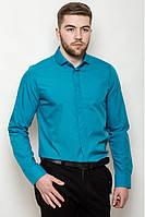 Мужская однотонная классическая рубашка со скрытыми пуговицами под запонки лазурная