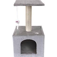Когтеточка скребок для кота Kobitz 60 см 3 уровня Серый