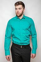 Мужская однотонная классическая рубашка со скрытыми пуговицами под запонки мятная