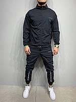 Спортивный костюм мужской черный Турция,с манжетом костюм на молнии полиэстер, без капюшона(весна, осень)