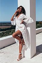 Асимметричное белое платье с V-образным вырезом 44-48 р, фото 2