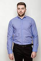 Мужская однотонная классическая рубашка со скрытыми пуговицами под запонки сиреневая