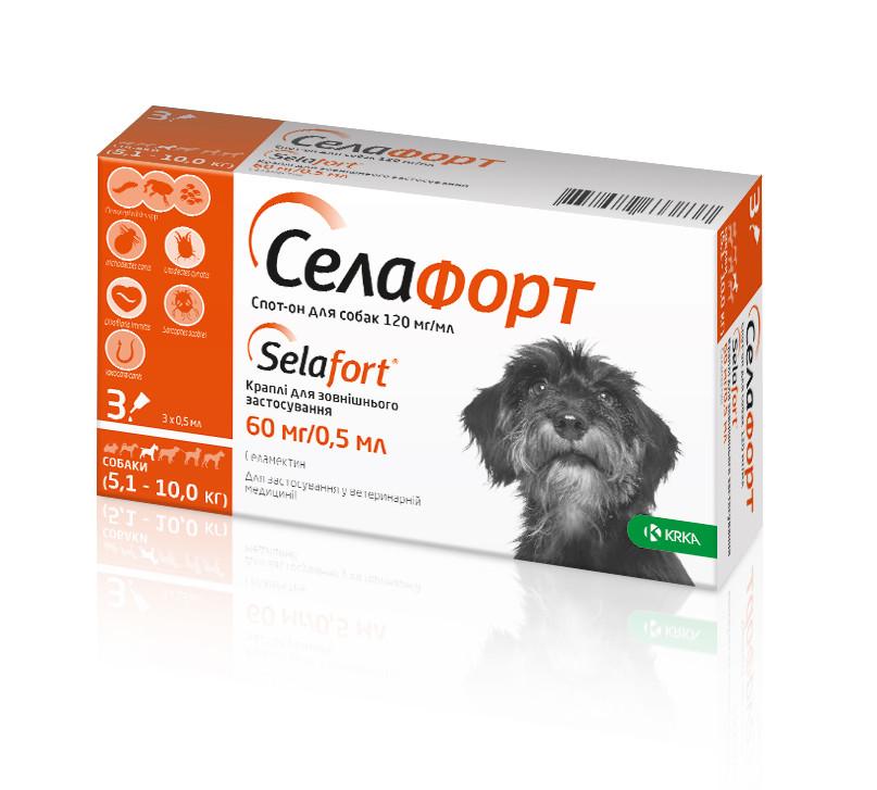 Селафорт Спот он для собак весом 5-10 кг - капли для внешнего применения, KRKA