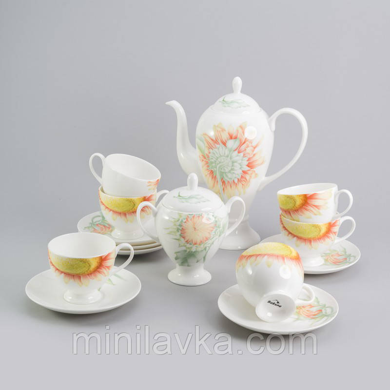 Чайний сервіз з кістяного порцеляни Соняшник Sakura SK-0505 - 6 персон, 14 пр.