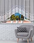 Тюль штора на кухню с роскошным кружевом Декор 135 х 280 Белая код 014559