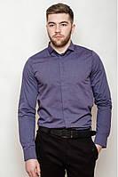 Мужская однотонная классическая рубашка со скрытыми пуговицами под запонки темно-сиреневая
