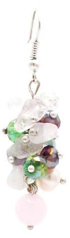 Сережки. Рожевий кварц. Мікс каменів., фото 2