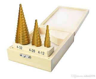Набор ступенчатых сверл по металлу: 4-32, 4-20 и 4-12 мм
