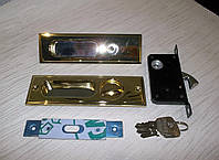 Ручка + замок на раздвижные двери золото