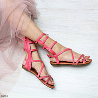 Яркие коралловые женские сандалии босоножки римлянки в романтическом стиле, фото 1