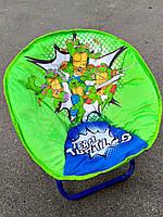 Детское раскладное кресло-стульчик ЧЕРЕПАШКИ НИНДЗЯ мягкое сидение (50х45х37 см, нагрузка до 37 кг)