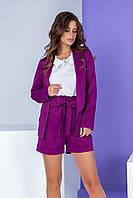 Жіночі шорти з поясом і високою талією, арт. 191, колір ультрафіолет