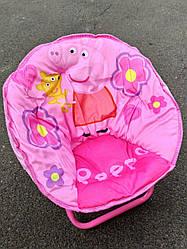 Детское раскладное кресло-стульчик СВИНКА ПЕППА мягкое сидение,  50х45х37 см, нагрузка до 37 кг