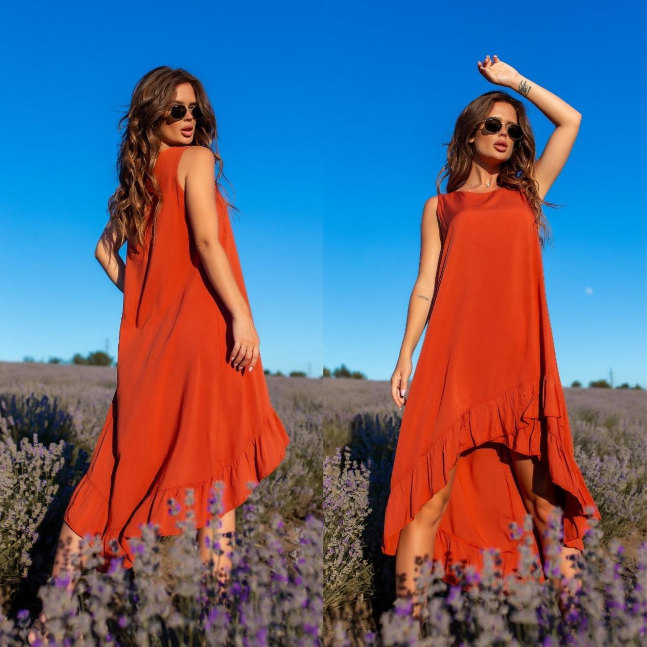 Платье-сарафан с ассиметрией из штапеля 35-340