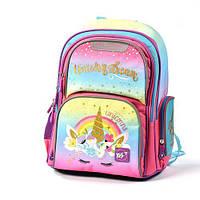 Каркасный школьный рюкзак с единорогом для 1-4 класса (ортопедический ранец)