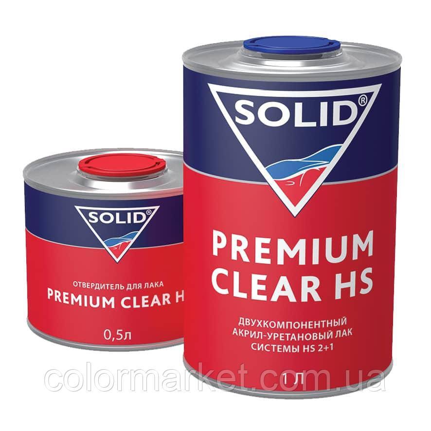 Акрил-уретановый лак PREMIUM CLEAR HS с повышенным сухим остатком (1 л) с отвердителем (0,5 л) , SOLID