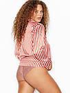 Сатиновая Пижама Victoria's Secret The Satin PJ, Розовая в терракотовую полоску, фото 7