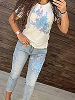 Джинсы Джинсовый костюм джинсы стрейч, тянутся принт футболка цветы 3/д модный красивый 2020L, XL