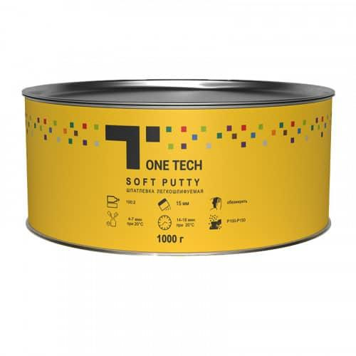 Шпатлевка легкошлифуемая Soft Putty (1,8 кг) с отвердителем, ONE TECH