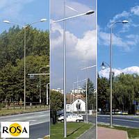 Двухэлементные опоры ROSA с дугообразными оголовниками от 8,5м до 9м. со сварным основанием диаметром 176 мм