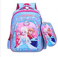 """Школьный рюкзак с пеналом для девочки 3D """"Холодное сердце Эльза"""" 1-4 класс"""