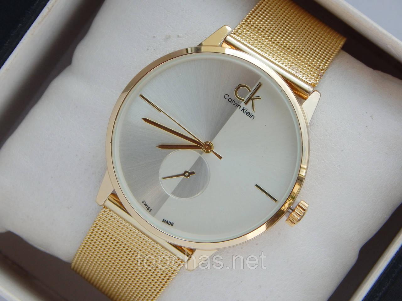 f36dac7e2d77a Мужские (Женские) кварцевые наручные часы Calvin Klein на металлическом  ремешке