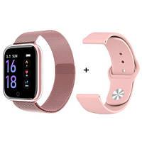 Умный фитнес браслет Smart Band T80 Pink (тонометр, пульсометр, шагометр) + браслет в подарок