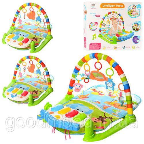 Килимок для немовляти 698-54-54А-55 дуга, підвіски, ігр.панель, проектор, 3 види, муз., світло, кор.