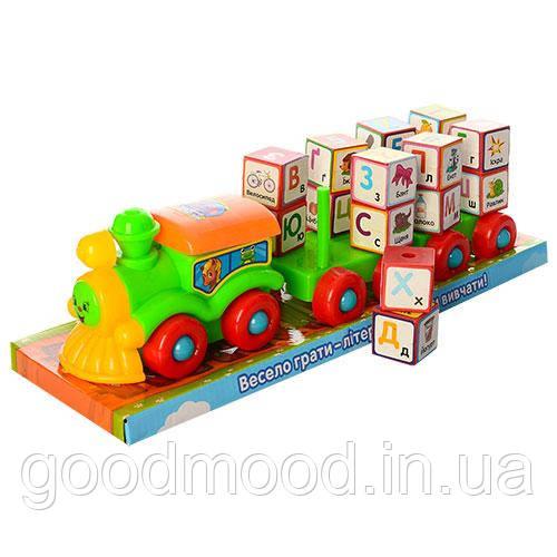 Локомотив 2366UA з причепом, мотузка, літери-кубики, бліст., 38-12-11 см.