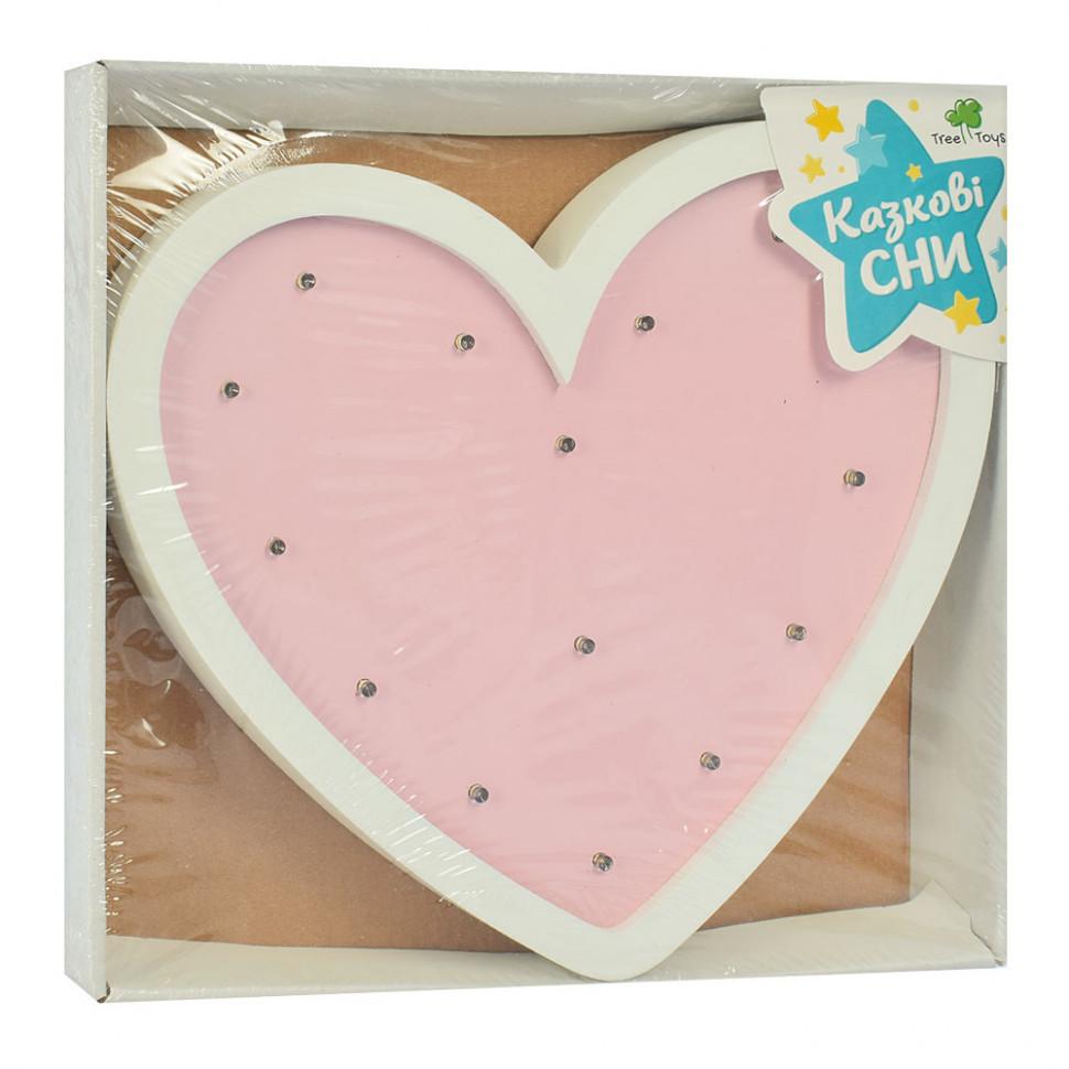Ночник деревянный Сердце розовый MD 2080H
